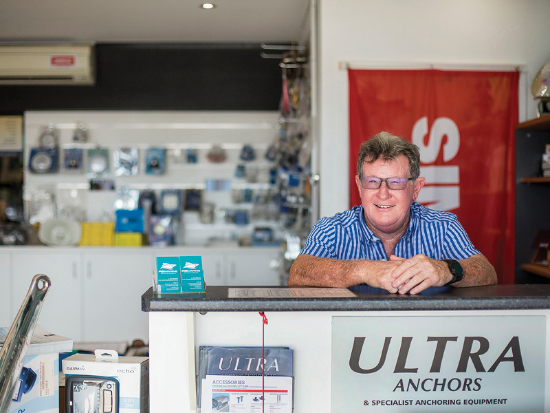 AB Electronics and Electrics owner Kenny at his shop located in the south marina village precinct at Coral Sea Marina