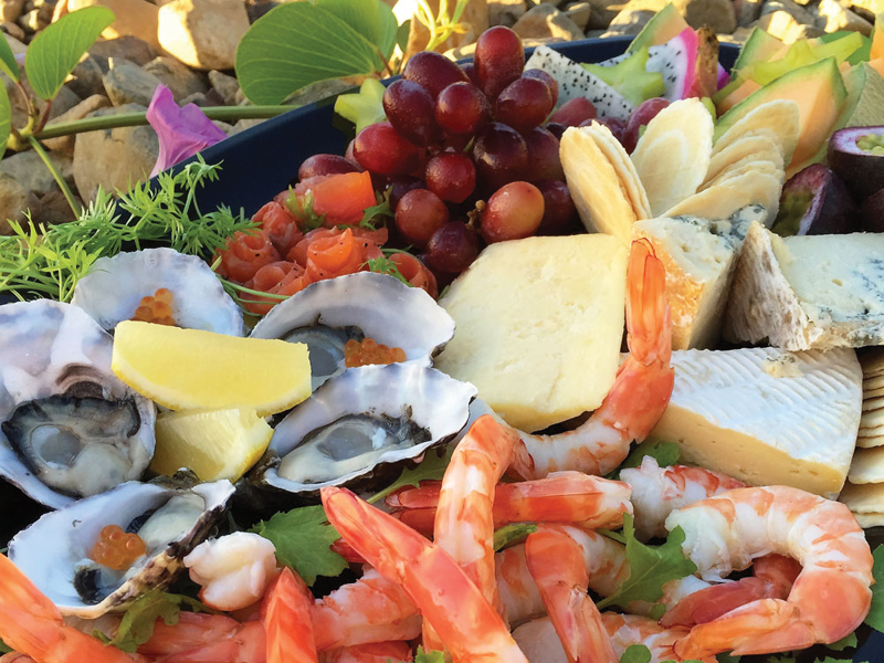 close up of seafood, cheese and fruit platter from Whitsunday Provisions