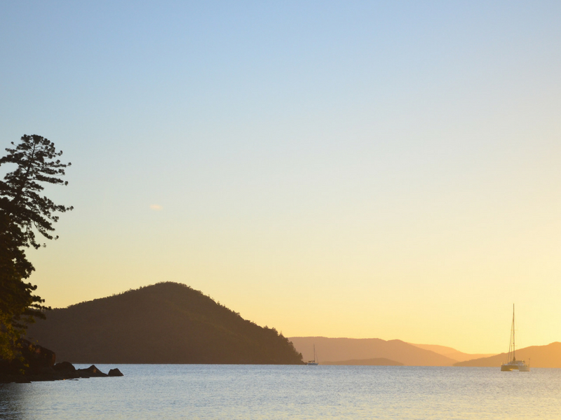 A sunset view from Cid Harbour on Whitsunday Island