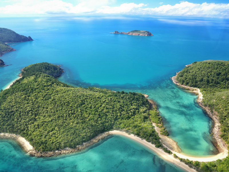 Aerial image of Shaw Island in the Whitsundays