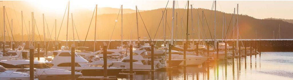 Coral Sea Marina Resort yachts at sunset