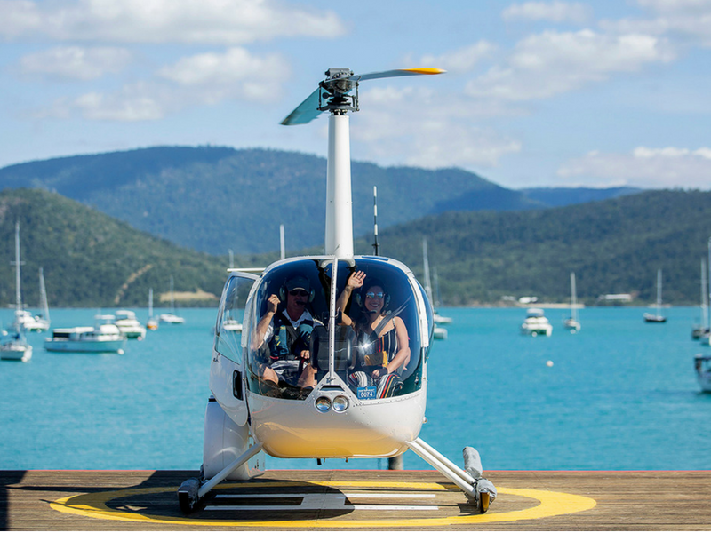 Coral Sea Flight Collection service at private helipad at Coral Sea Marina