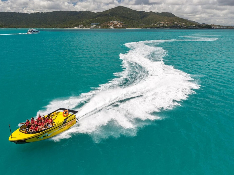 Prioneer Jetboating doing a joy ride outside Coral Sea Marina in Airlie Beach