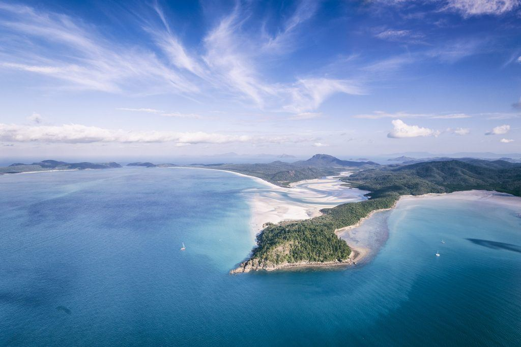 An aerial of Hill Inlet and Whitehaven Beach on Whitsunday Island