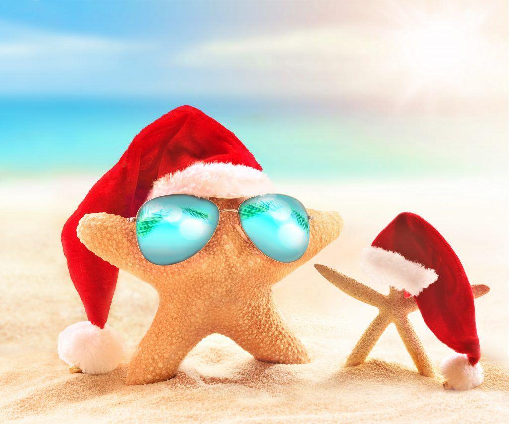 Starfish in sunglasses on summer beach and santa hat. Merry Christmas