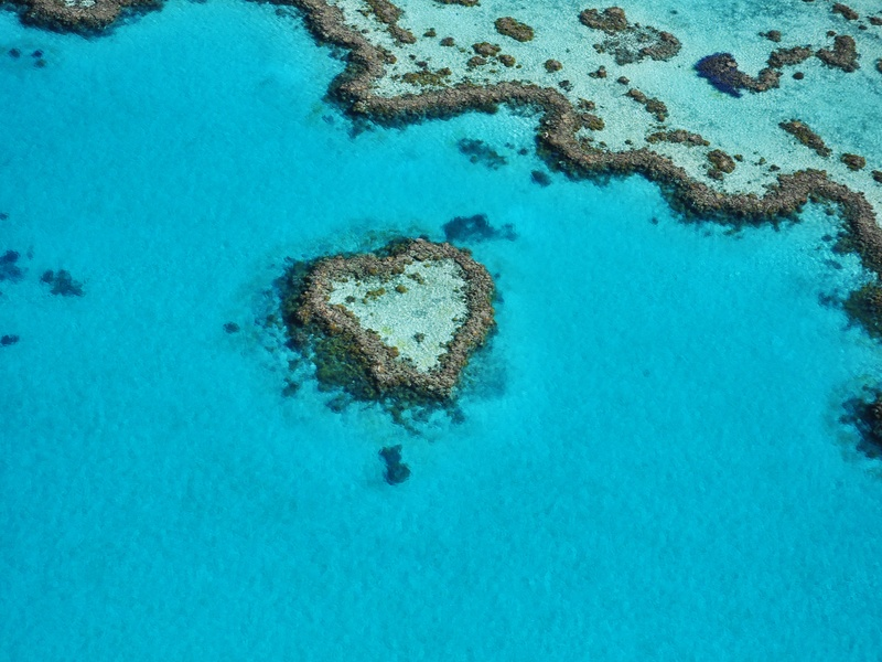 An aerial image of Heart Reef on the Great Barrier Reef