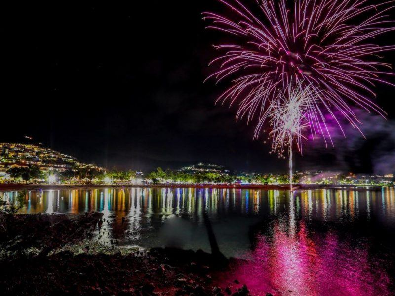 Fireworks from the Airlie Beach Foreshore at the Great Barrier Reef Festival