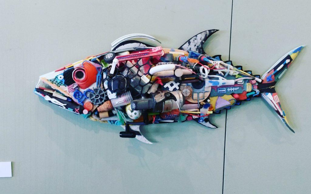 Artwork of a fish made out of plastics collected from marine debris