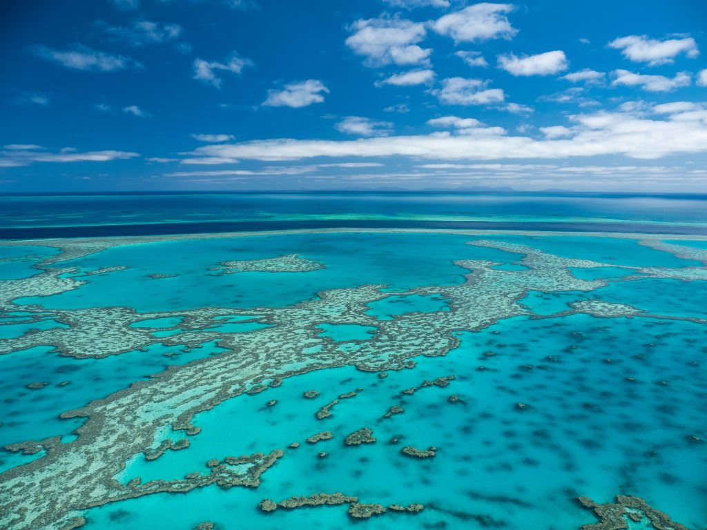 An aerial image of the Great Barrier Reef near Hardy Reef