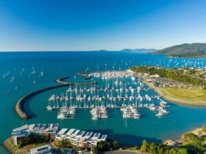 aerial image of Coral Sea Marina in the Whitsundays