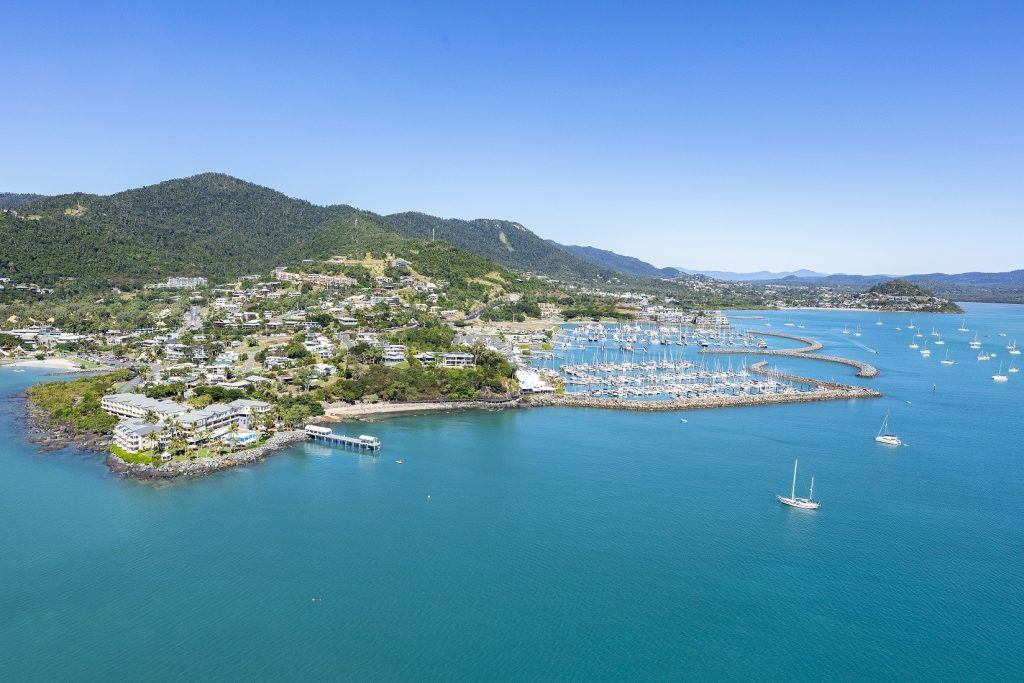 Aerial image of Coral Sea Marina Resort and Airlie Beach