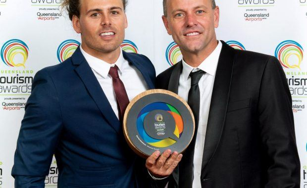 Red Cat Adventures Sales and Marketing Manager Chris Leverington and company Director Asher Telford at the 2019 Queensland Tourism Awards