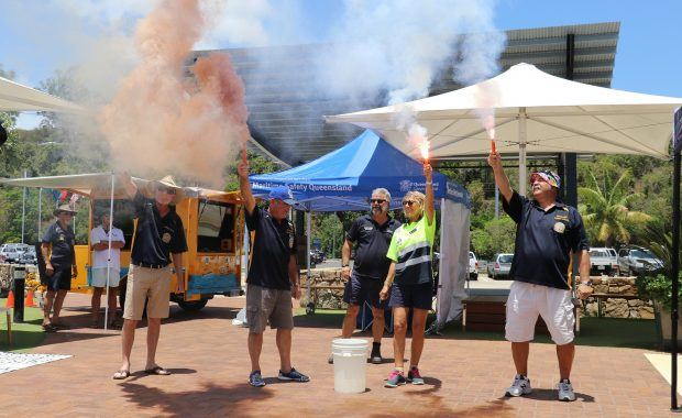 Safety Flare Demonstration at the Safety on Water Expo at Coral Sea Marina in 2019