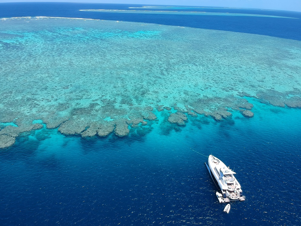 Superyacht at the Great Barrier Reef