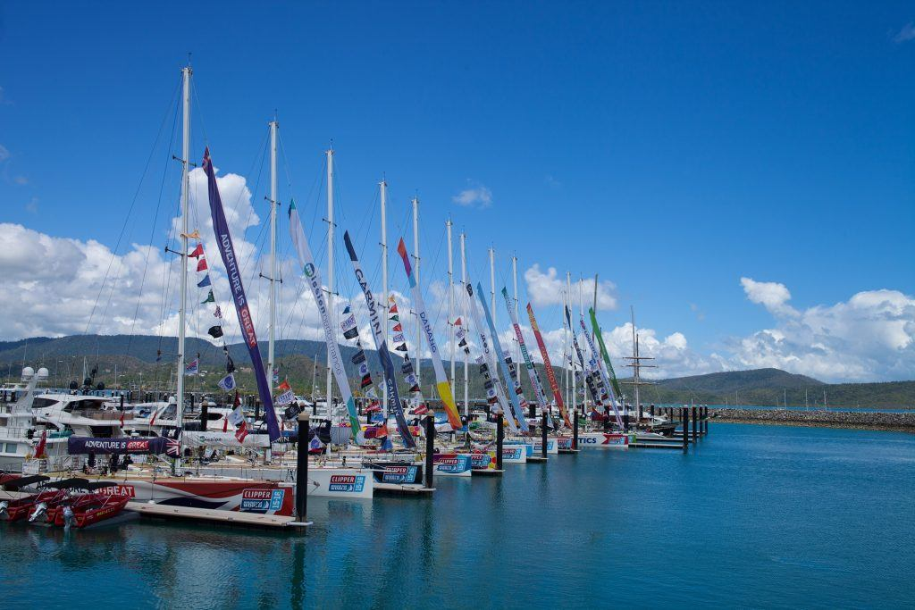The Clipper Round the World Yacht Vessels berthed together at the Coral Sea Marina in the Whitsundays