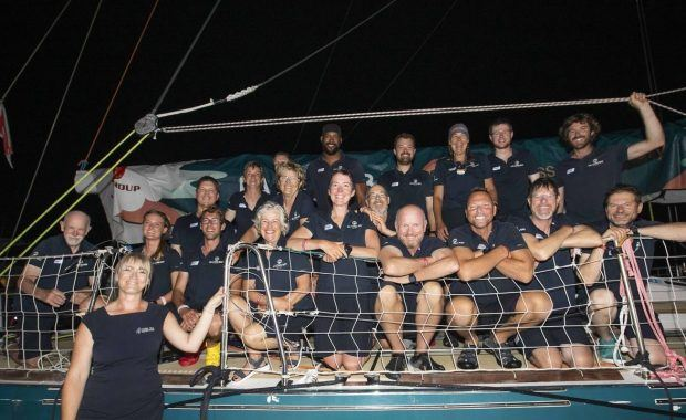 The crew of Ha Long Bay in the Clipper Round the World Yacht Race in 2020 when they arrived into Coral Sea Marina