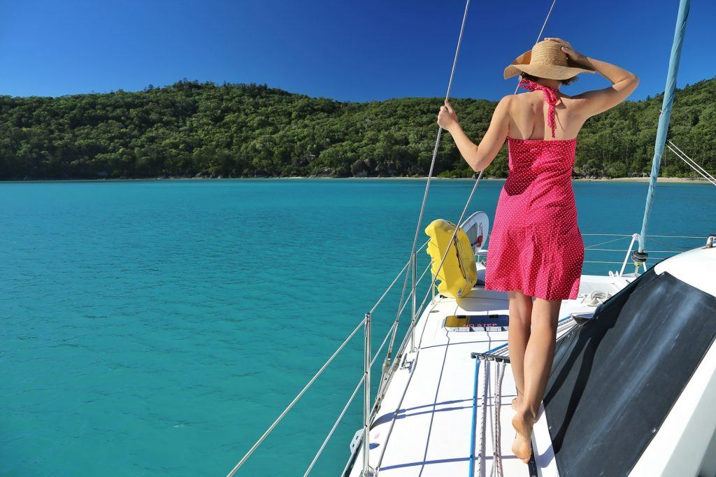 women on a bareboat in the whitsundays