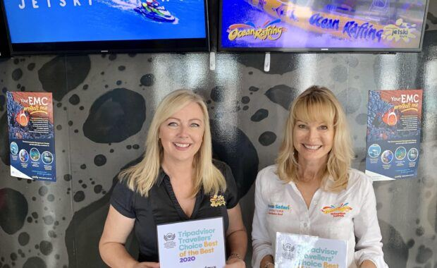 Toni Ward from Whitsunday Jet Ski Tours and Jan Claxton from Ocean Rafting awarded 2020 Tripadvisor Travellers' Choice Best of the Best Award for the Top 10 Experiences in Australia
