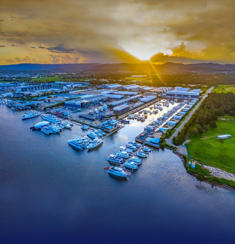 Gold Coast City Marina aerial shot at sunset