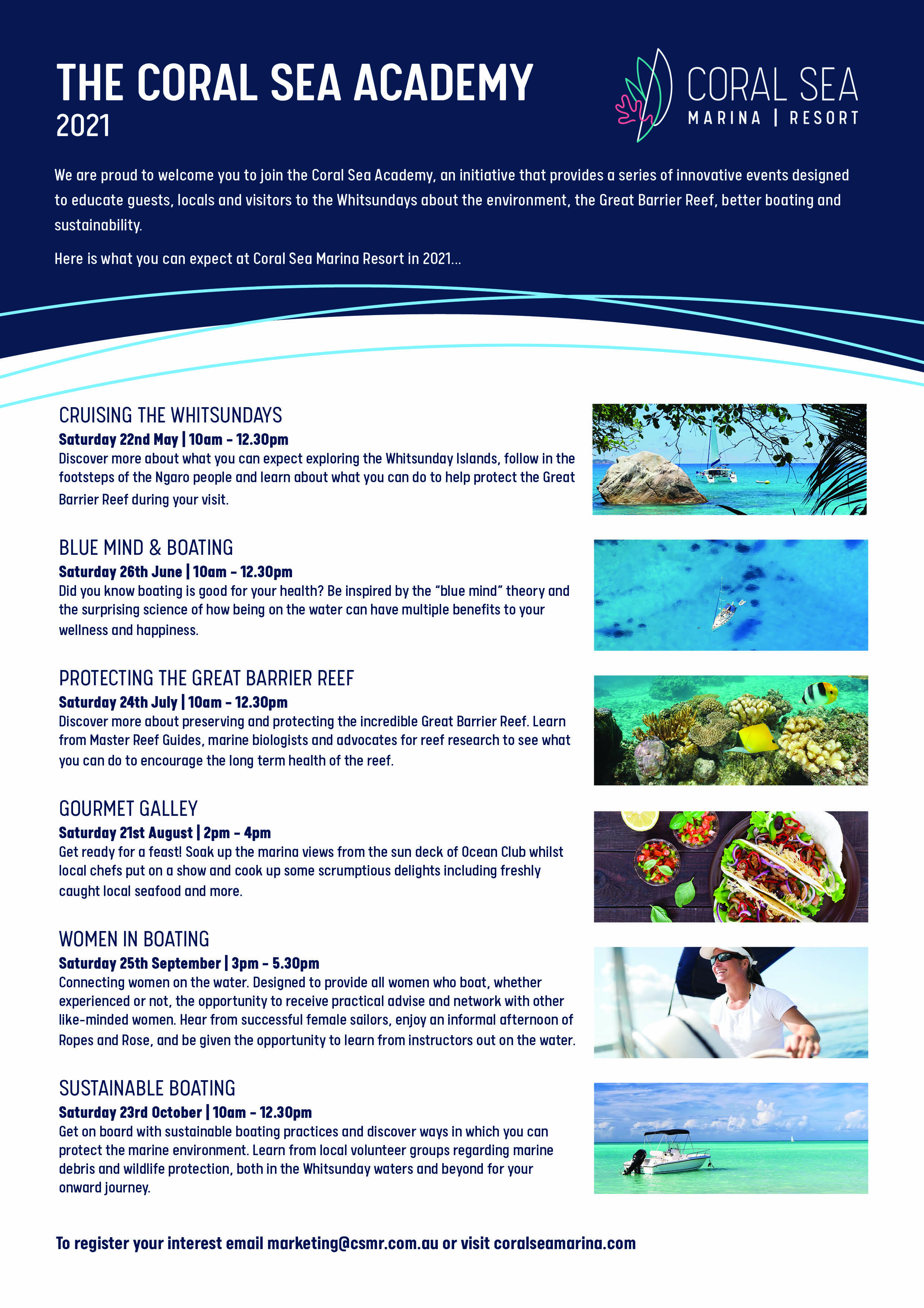 Coral Sea Academy 2021 Calendar of Events