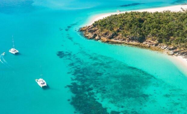 Aerial image of Whitsunday Escape bareboat charter sailing catamarans in the Whitsundays