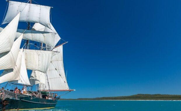 Tall Ship, Solway Lass, under sail in the Whitsundays