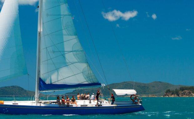 Sailing maxi yacht, Southern Cross, in the Whitsundays
