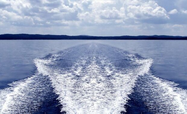 Wake in the water from a motor boat