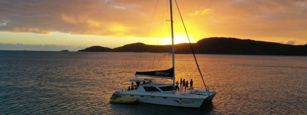 Wings sailing catamaran at sunset in the Whitsundays