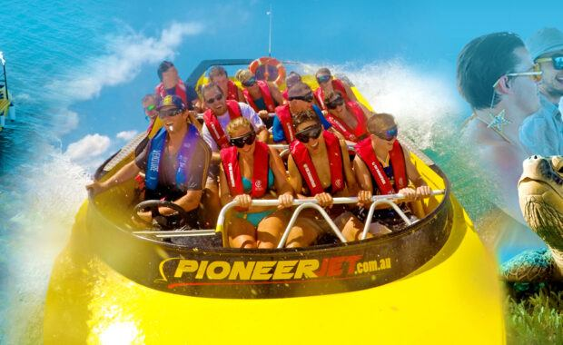Pioneer Jet speed boat and glass bottom boat in the Whitsundays