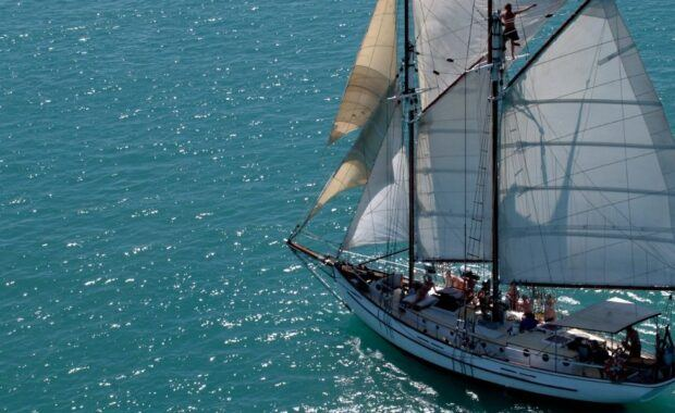 Tall Ship sailing with full sails hoisted in the Whitsundays