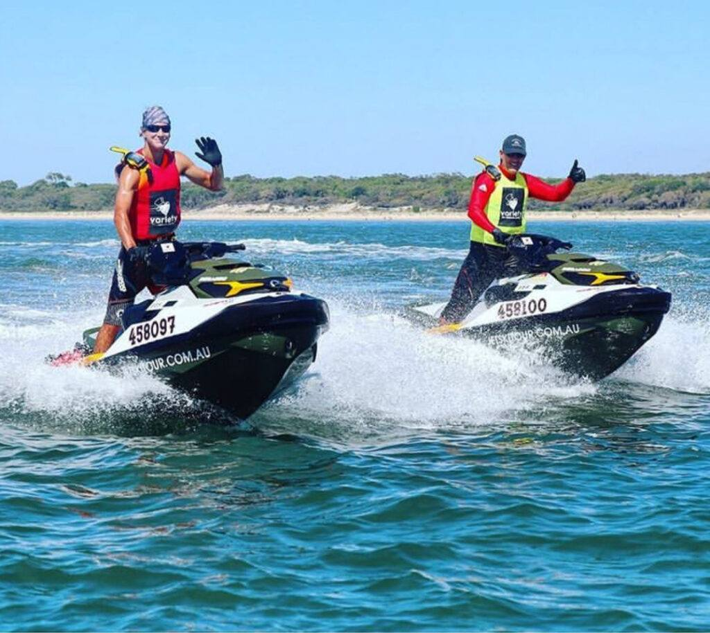 Steve and Rhys Ward on jet skis as they get ready to depart on the Variety Jet Trek in March 2020