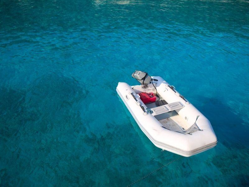 An inflatable tender in the ocean