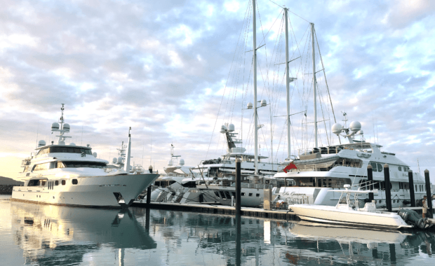 Multiple Superyachts at Coral Sea Marina in the Whitsundays