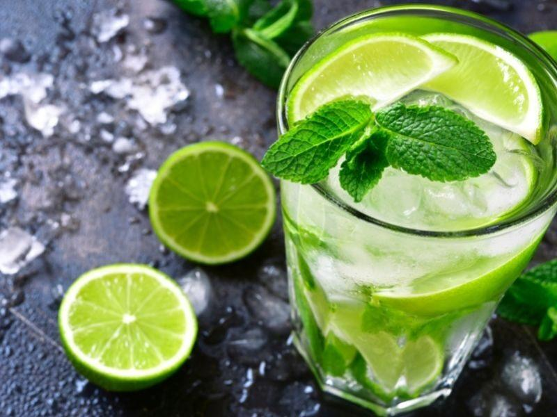 A Mojito with fresh mint and lime
