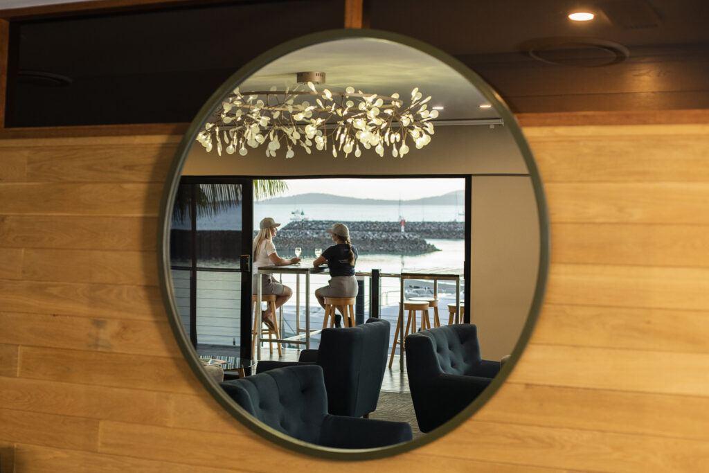 Crew enjoying The Lookout Lounge at Coral Sea Marina