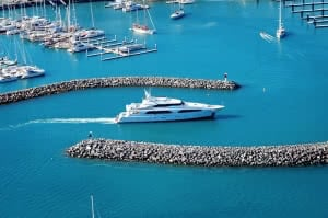 Superyacht entering Abell Point Marina