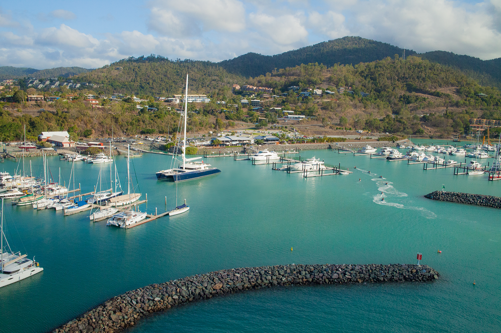 World's biggest catamaran visits Whitsunday marina