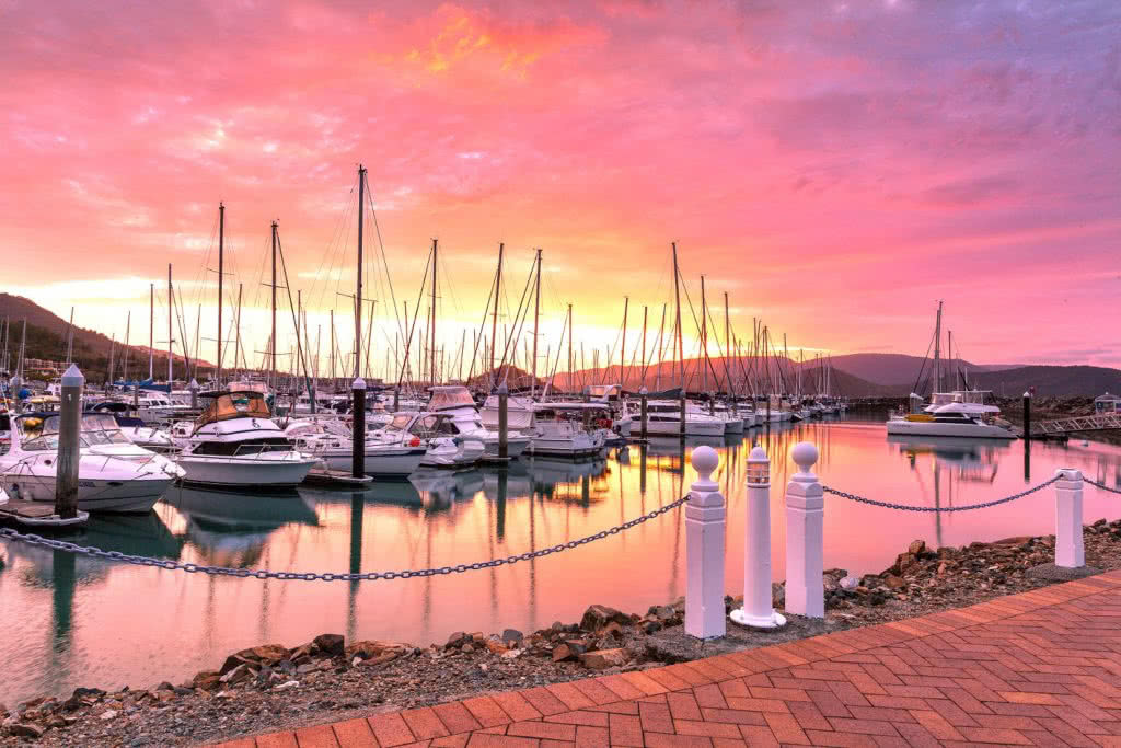 Sunset at Abell Point Marina,Airlie Beach,Whitsundays, Queensland.